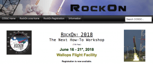 Screen shot of RockOn 2018 announcement page