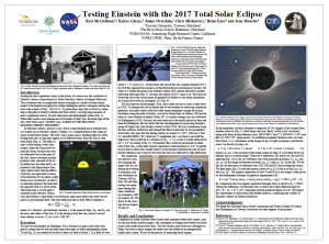Poster on students repeating Eddington's test of General Relativity using 2017 solar eclipse.