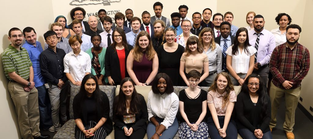 Group photo of student participants in MDSGC Student Research Symposium 2018. Photo credit: Will Kirk, JHU Homewood photography.