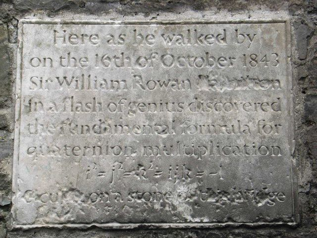 Plaque on Broom (Brougham) Bridge in Ireland commemorating Hamilton's discovery of quaternions.