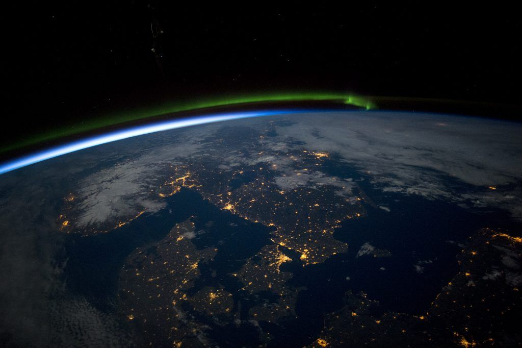 Aurora over Scandinavia at night from the International Space Station.