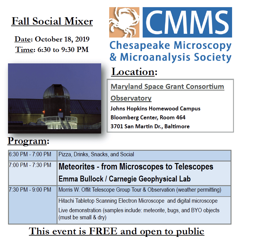 Flyer for MDSGC/CMMS October 18th event
